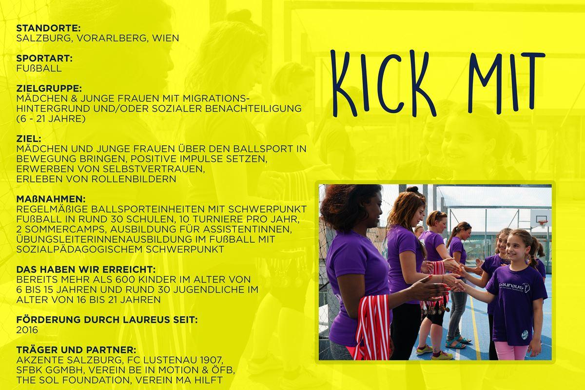Laureus soziales Sportprojekt Salzburg, Vorarlberg, Wien - kick mit